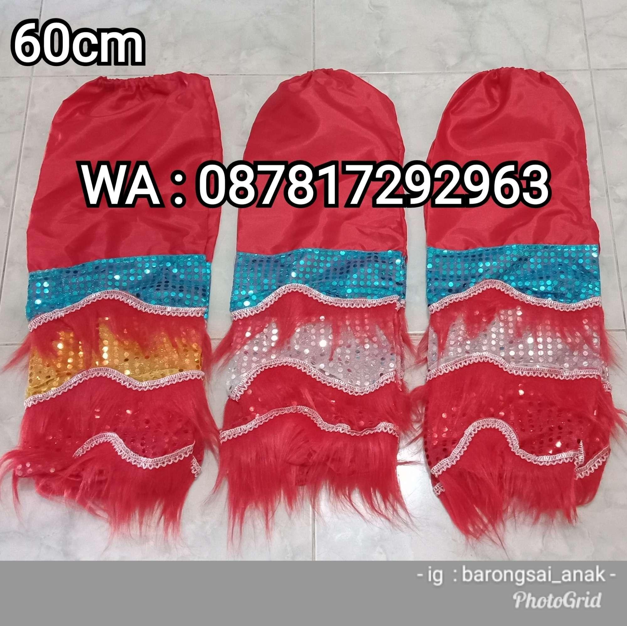 Celana Barongsai Anak bulu warna Merah panjang 60cm