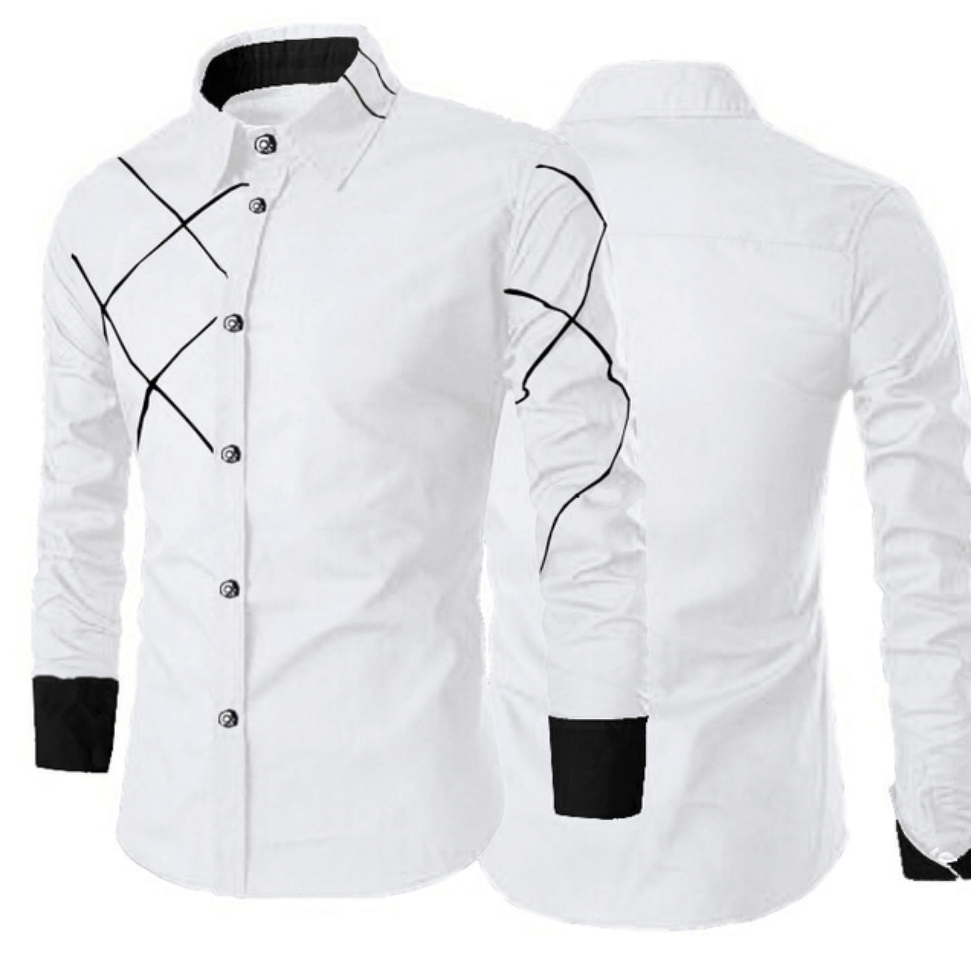 Kemeja Pria Lengan Panjang Delivio Baju Formal Slimfit - [Putih]