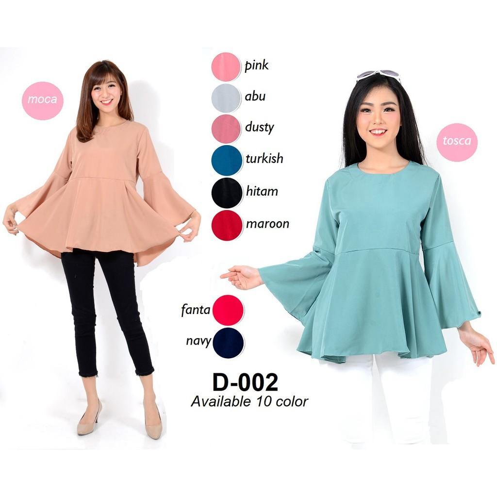 Harga monellina fashion baju blouse kerja atasan tangan panjang murah wanita cewek kekinian terompet | DEMO