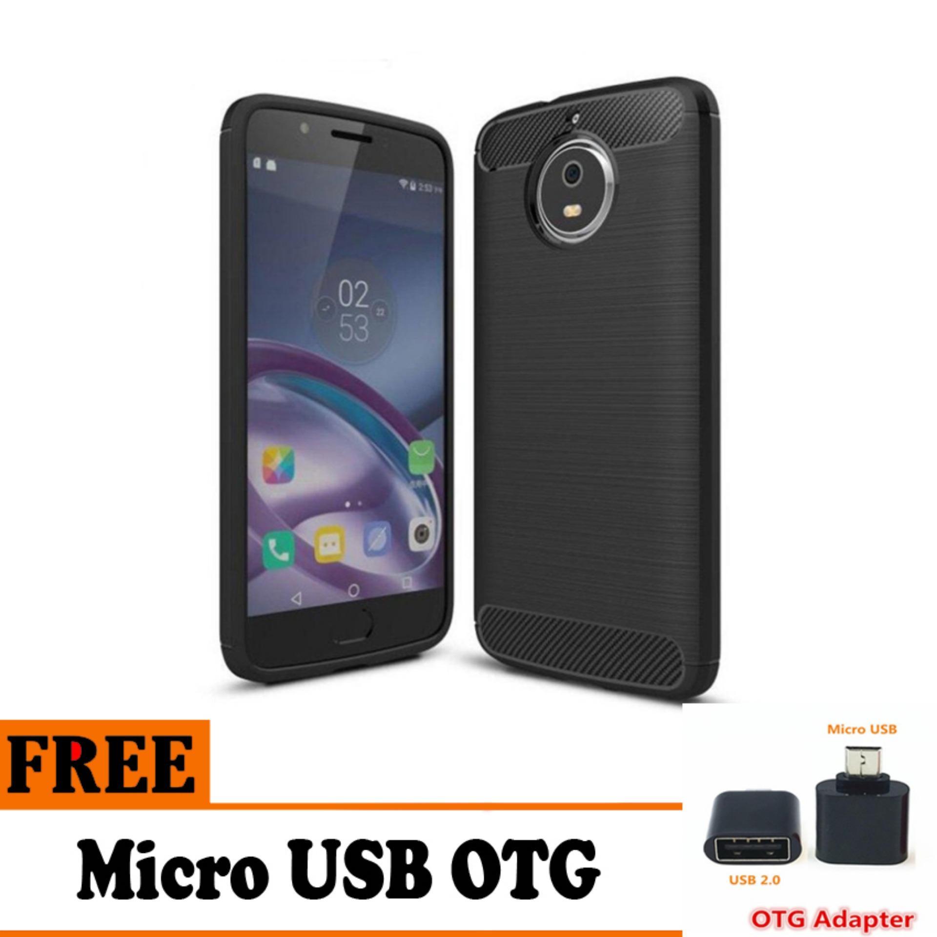 Softcase Ipaky Shockproof Matte Black karbon untuk Motorola Moto G5 S Plus  - Free USB OTG