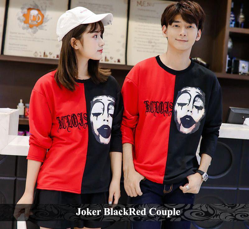 BajuCouple  Kaos Pasangan murah Baju kaos couple lengan panjang  Joker BlackRed [merah]