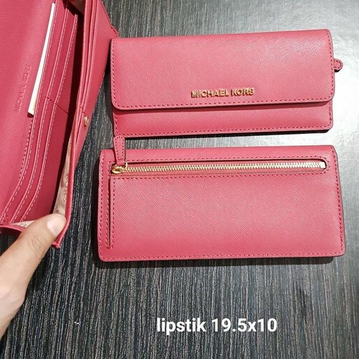 Dompet Michael Kors Original MK Jetset Flat Slim Wallet Lipstick - rPaTzM