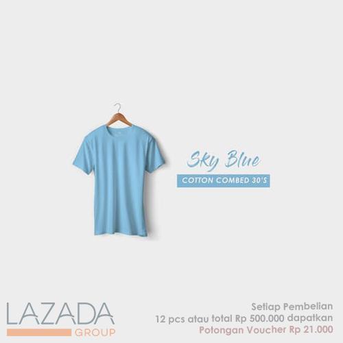 Kaos Polos Sky Blue Fashion-able Label [PREMIUM QUALITY]