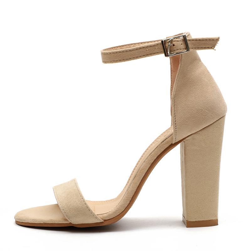 Sandal Wanita Ukuran Besar Wanita Kumpulan Sepatu Hak Tinggi Wanita Tumit Persegi Gesper Cover Strap Tumit Seksi Sepatu Pesta Pernikahan-Intl