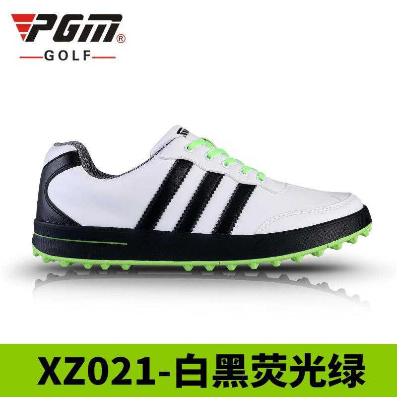 PGM Mens Ultra-soft Waterproof Golfing Shoes (White and black flourescent  Green (three 3559b9d66