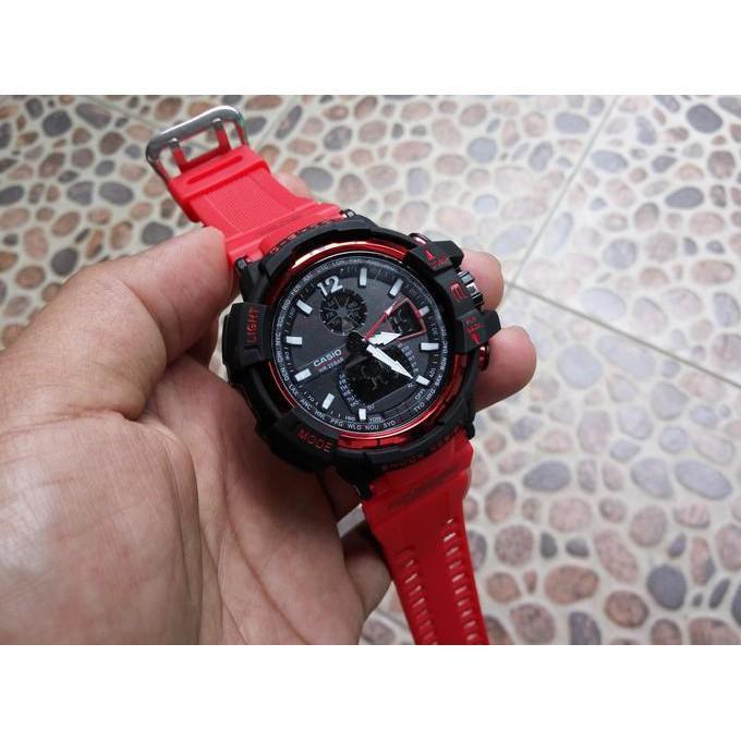 G Shock Gwa 1100 Tali Merah Black Hitam Gshock Gwa1100 Jam Tangan - Timewatch