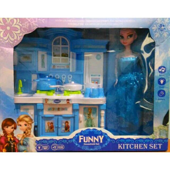 Mainan boneka barbie kitchen set