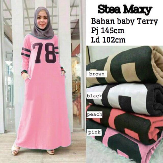 Damai fashion - baju hijab maxi stea - konveksi tanah Abang 4warna