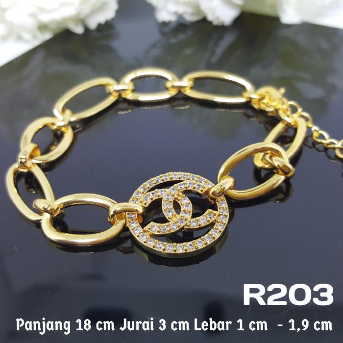 R203 Gelang Chanel Berlian Permata Perhiasan Imitasi Xuping Lapis Emas