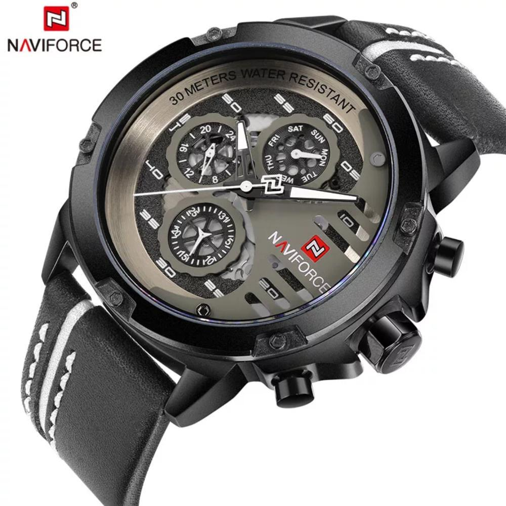 Jam Tangan Pria Original Naviforce genuine leather by hargajam cowok tali kulit asli chrono aktif anti air ori water resist proof renang bergaransi - 5pilihan warna