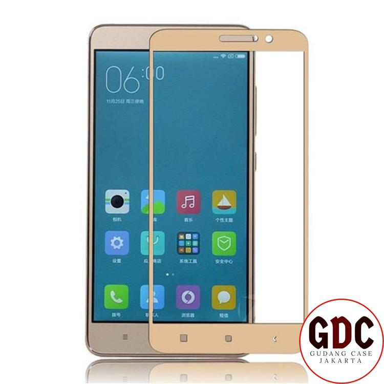 GDC Full Cover Tempered Glass Warna Screen Protector for Xiaomi Redmi Note 3 - Gold