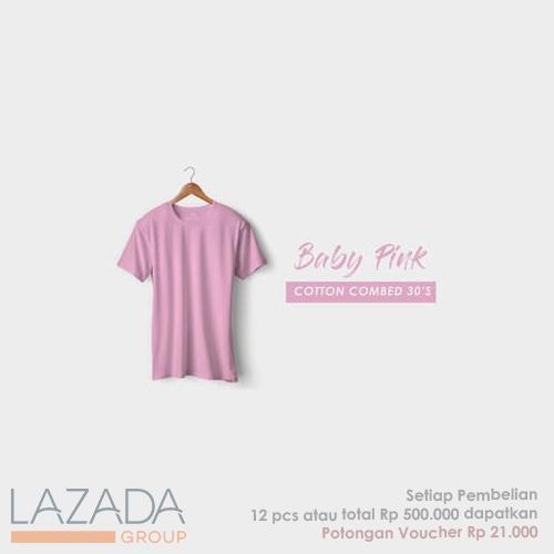 Kaos Polos Baby Pink Fashion-able Label [PREMIUM QUALITY]