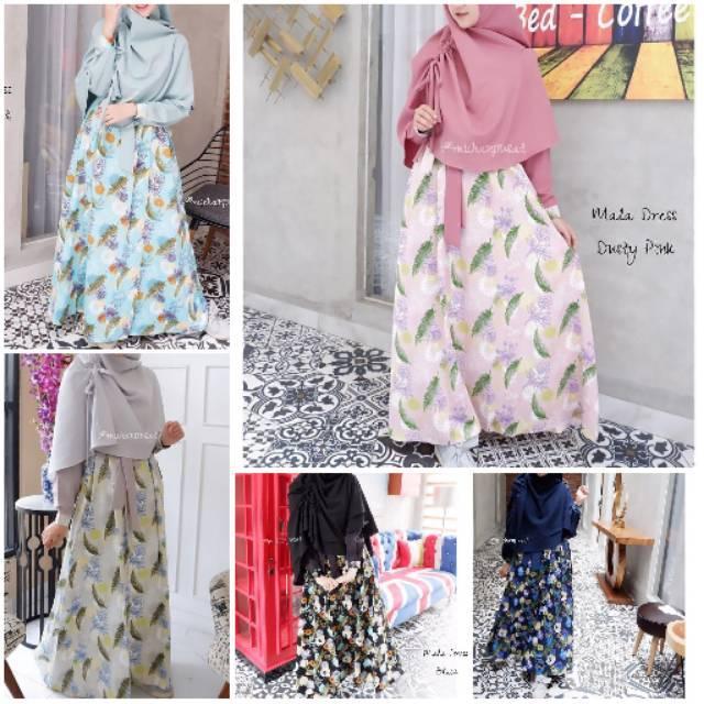 Mala Dress by Michan Hijab gamis bahan wollycrepe polos kombinasi maxmara best seller hijau mint XXL