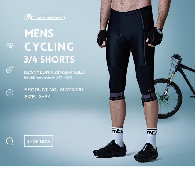 Santic Pria Musim Panas Bersepeda 3/4 Padded Spons Bantalan Celana Pendek Keren Maksimum 4D