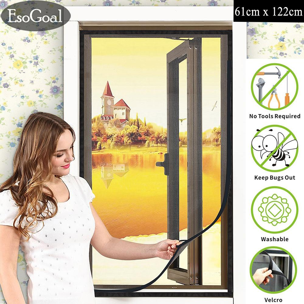 EsoGoal (2nd Generation) Easy DIY Mosquito Screen Net DIY Window Screen Nylon Mesh Curtain Kit with Stick Velcro (NO Need Toos)
