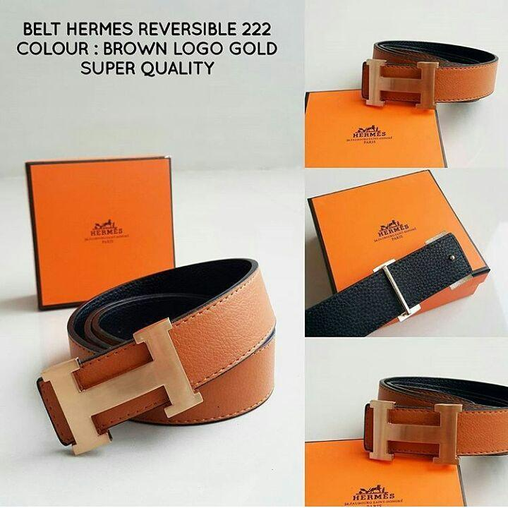 ikat pinggang Hermes Revesible 222 Brown Logo Gold