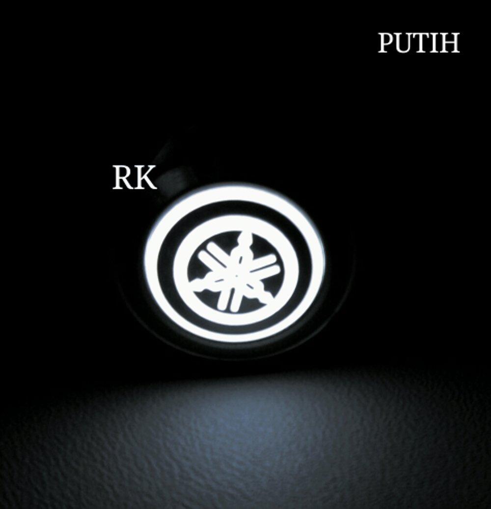 LOGO YAMAHA SAKLAR ON OFF LAMPU UNTUK MOTOR 12V DC WARNA PUTIH - SWITCH ON OFF STAINLESS NIKEL DAN