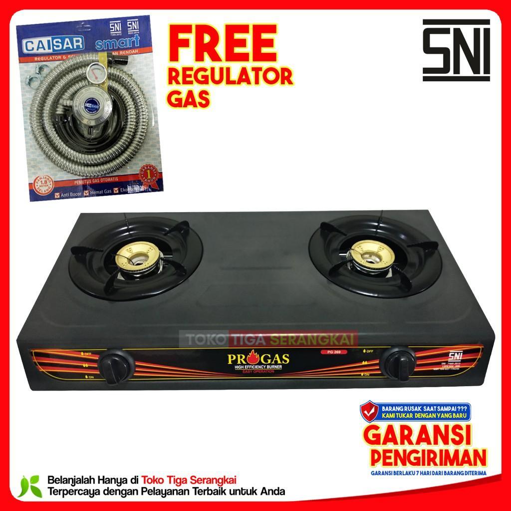 Progas Kompor Gas 2 Tungku Teflon PG-269 + Caisar Regulator Gas