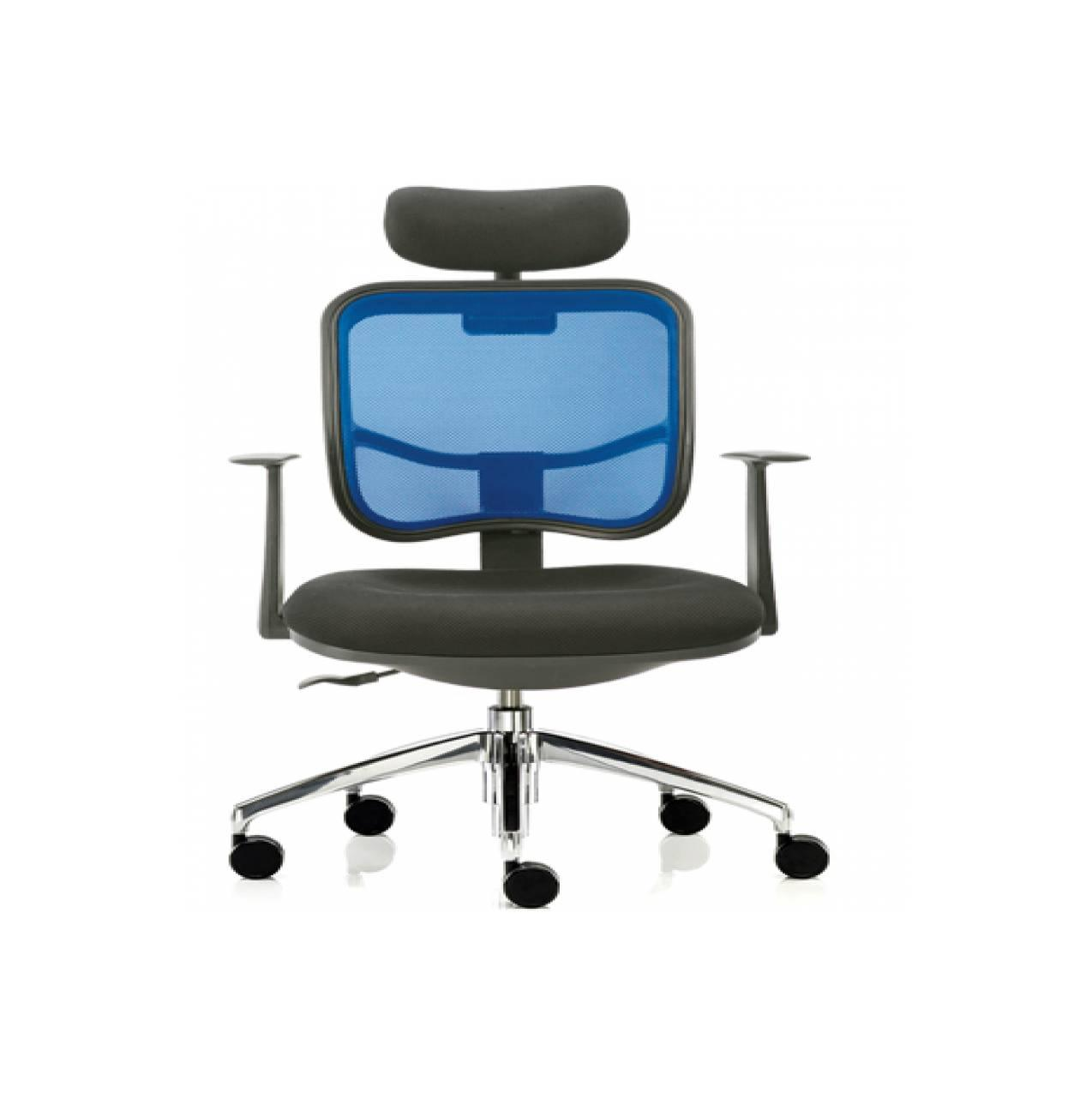 Kursi kantor Donati model jaring modern stylish kaki chrome& headrest