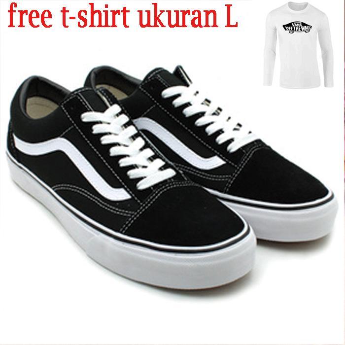 Sepatu Vans Old Skool Classic Black White Sepatu Pria free -tshirt