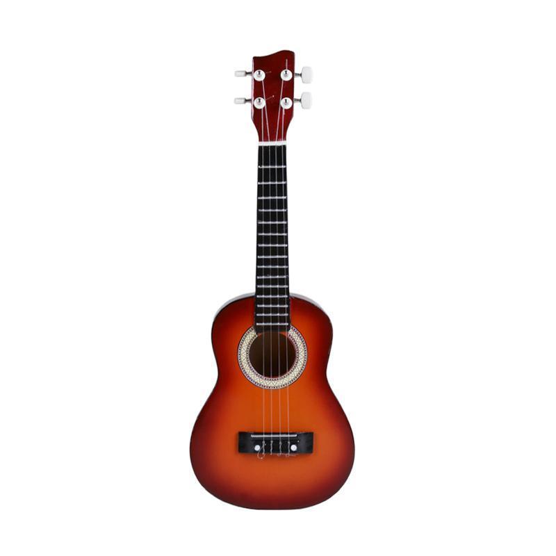 Gitar Kentrung (Gitar UKULELE) Alat Musik Kecil 4 Akustik Senar Light Brown Warna Random