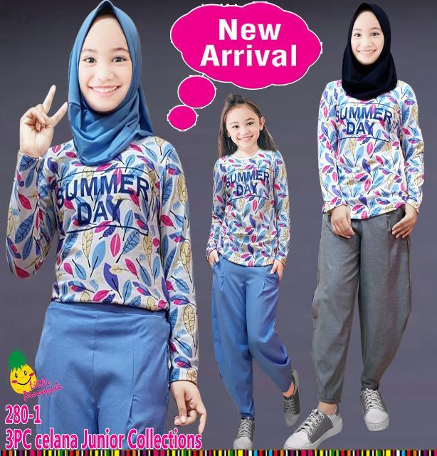 (7-12th) Baju Muslim Anak Perempuan LP Daun Summer Day Celana Jogger