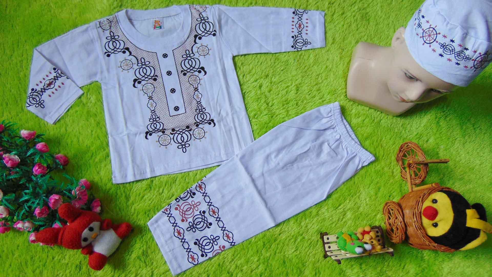 kembarshop - PLUS PECI setelan baju koko muslim anak bayi cowok laki-laki 1-2th putih sablon blink