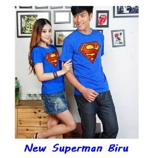 KaosCouple Kaos Couple Simple Baju Pasangan Terbaru New Superman Biru