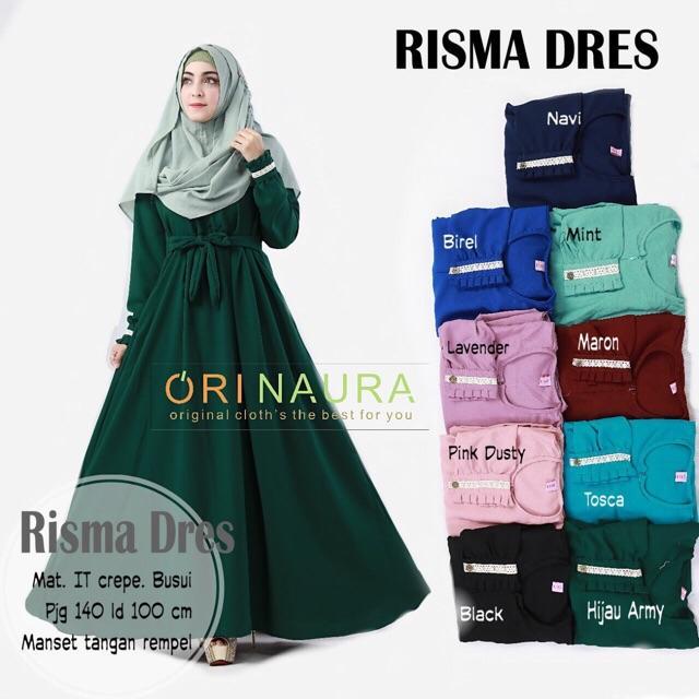risma dress maxi gamis longdress busui crepe naura hijau army