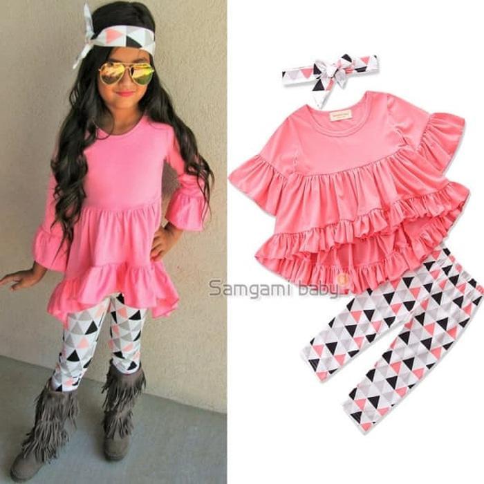 Baju Setelan Anak Perempuan Import Hawaii Top Pink Legging Segitiga