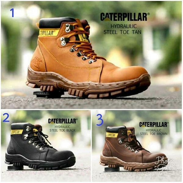 Promo sepatu pria boots safey caterpillar hydrolic original handmade Diskon