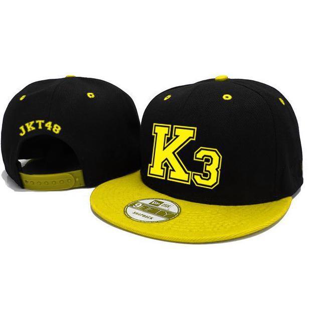 Jkt48 Snapback Team K3 - Hitam/Kuning - Djfpwjg