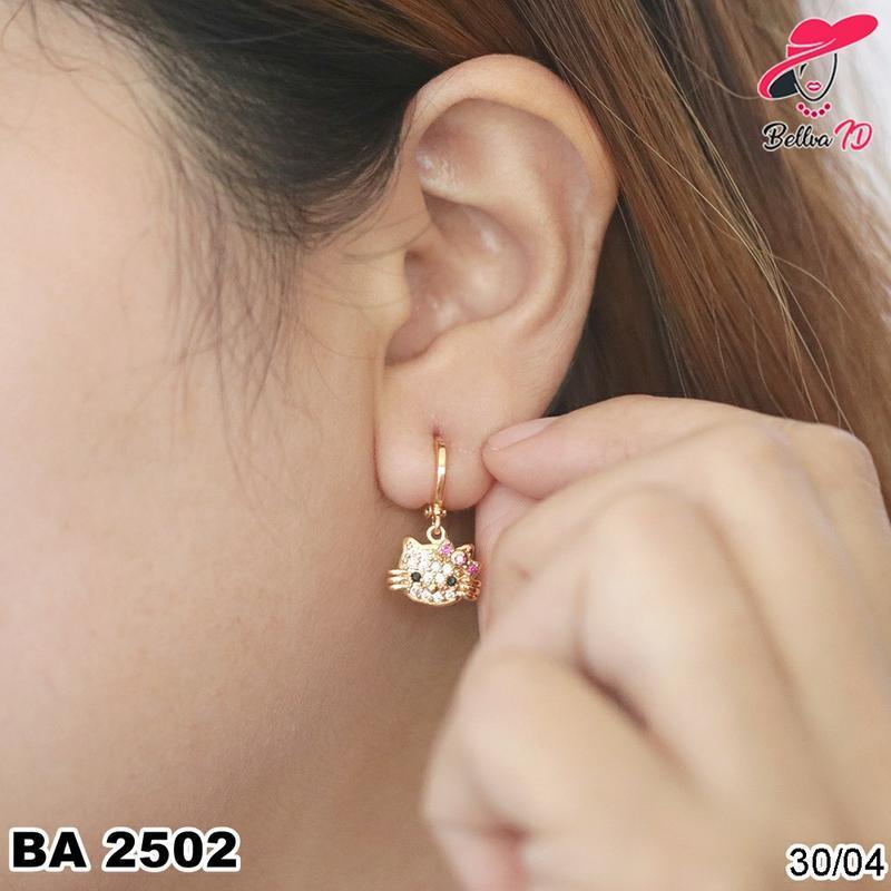 Perhiasan Anting Emas Hello Kitty Simple Full Permata Terbatas A 2502