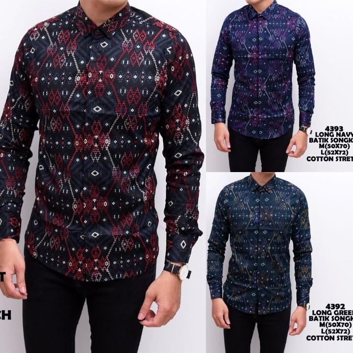 Kemeja Batik Songket Pria Panjang Kerja Kantor Slimfit  Baju Batik  Hijau Tosca, M