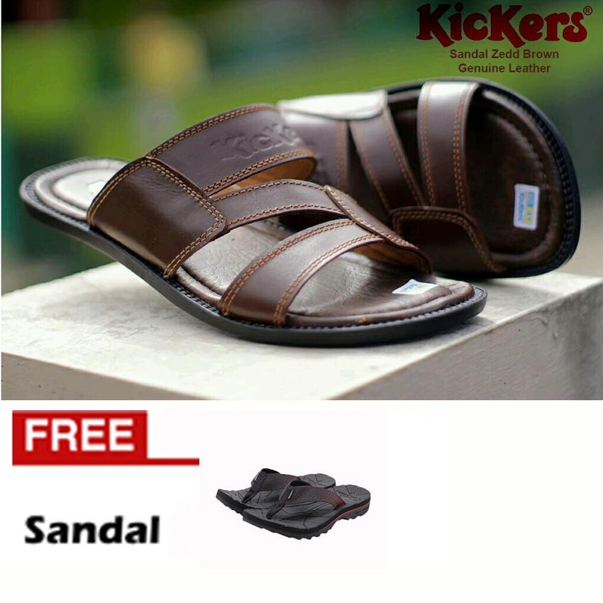 FREE SANDAL KICKERS ZEDDO Sandal KULIT SAPI ASLI Flip Flop Casual Pria Santai