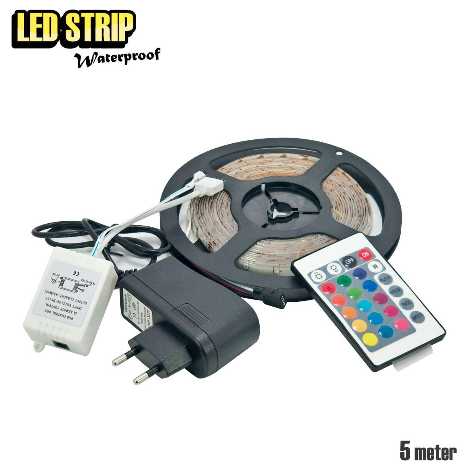 WEITECH Lampu Led strip WARNA WARNI 5M+ADAPTOR+REMOTE 3528