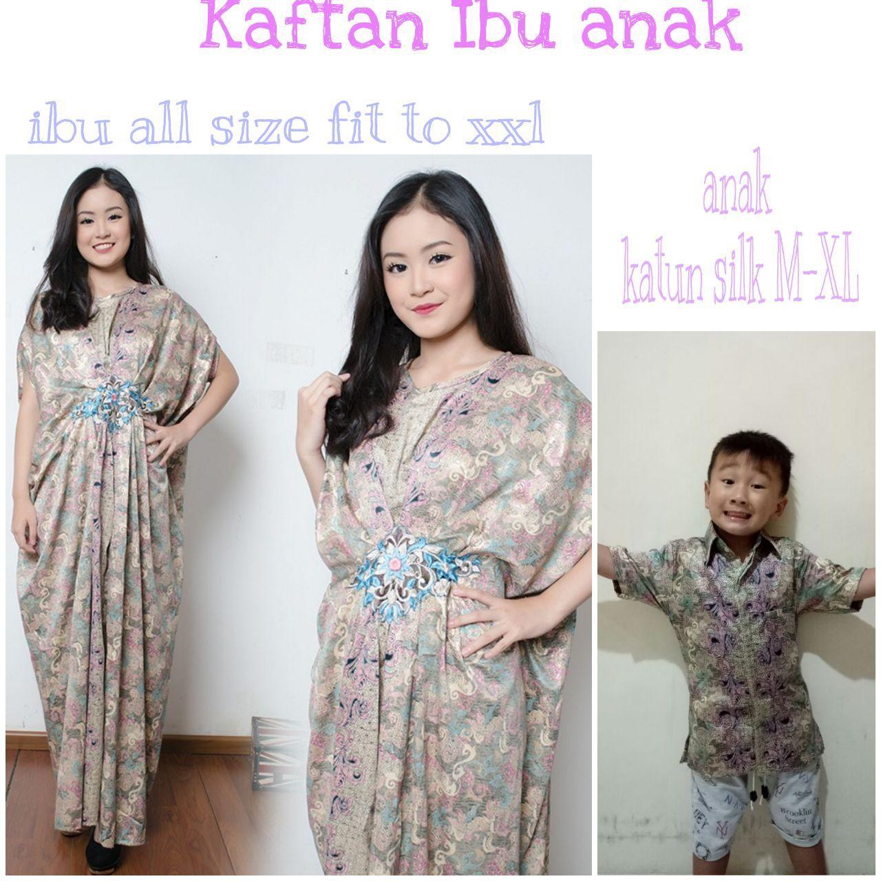 SB Collection Couple Dress Maxi Alfina Longdress Kaftan Jumbo Dan Kemeja Batik Anak