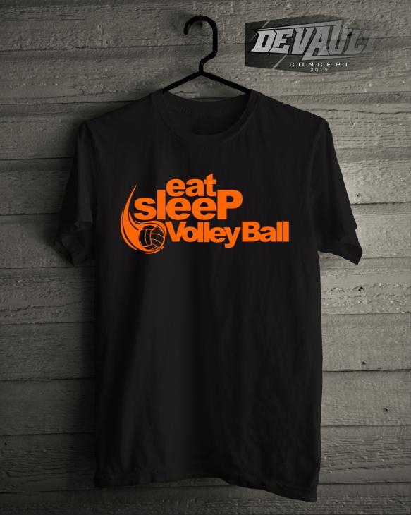 Kaos/T-Shirt Olahraga Eat Sleep Volleyball Murah