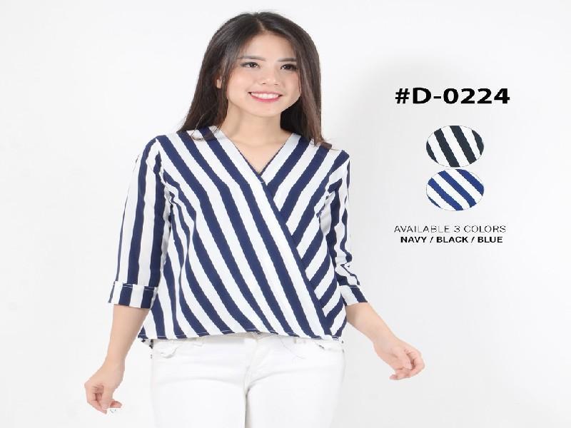 Fashion Baju Blouse Atasan Kemeja Tangan 3/4 Murah Wanita Kekinian D0224 Yukata Salur