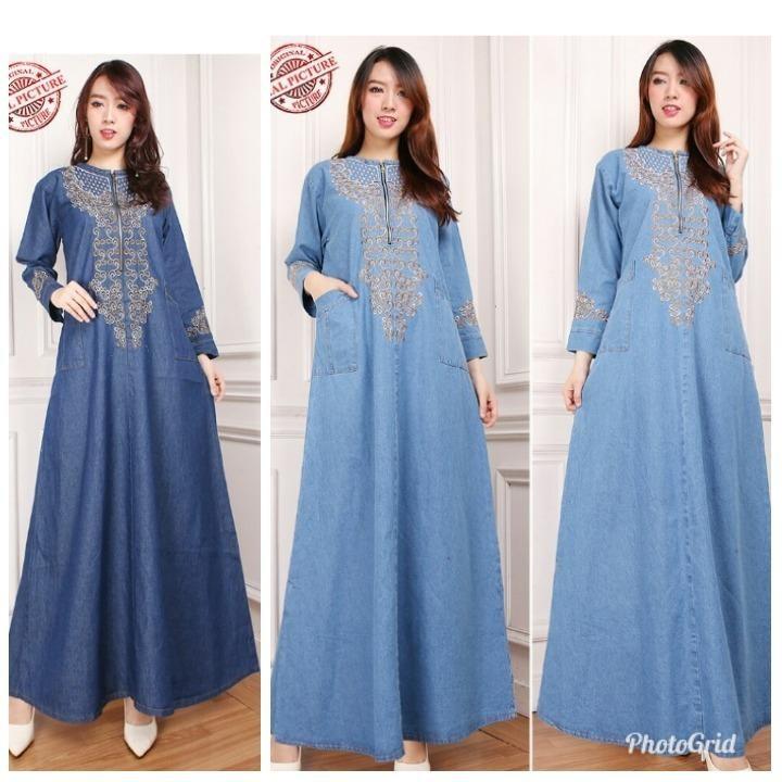Miracle Dress Maxi Naura Gamis Jeans Longdress Wanita