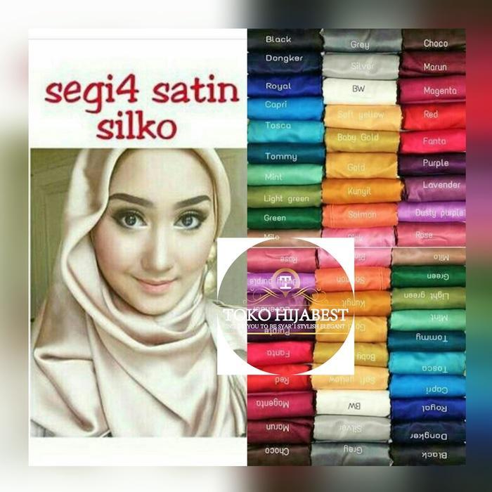jilbab Satin / saten segi empat 4 eksklusif hijab kerudung Khimar - Hijau Tosca