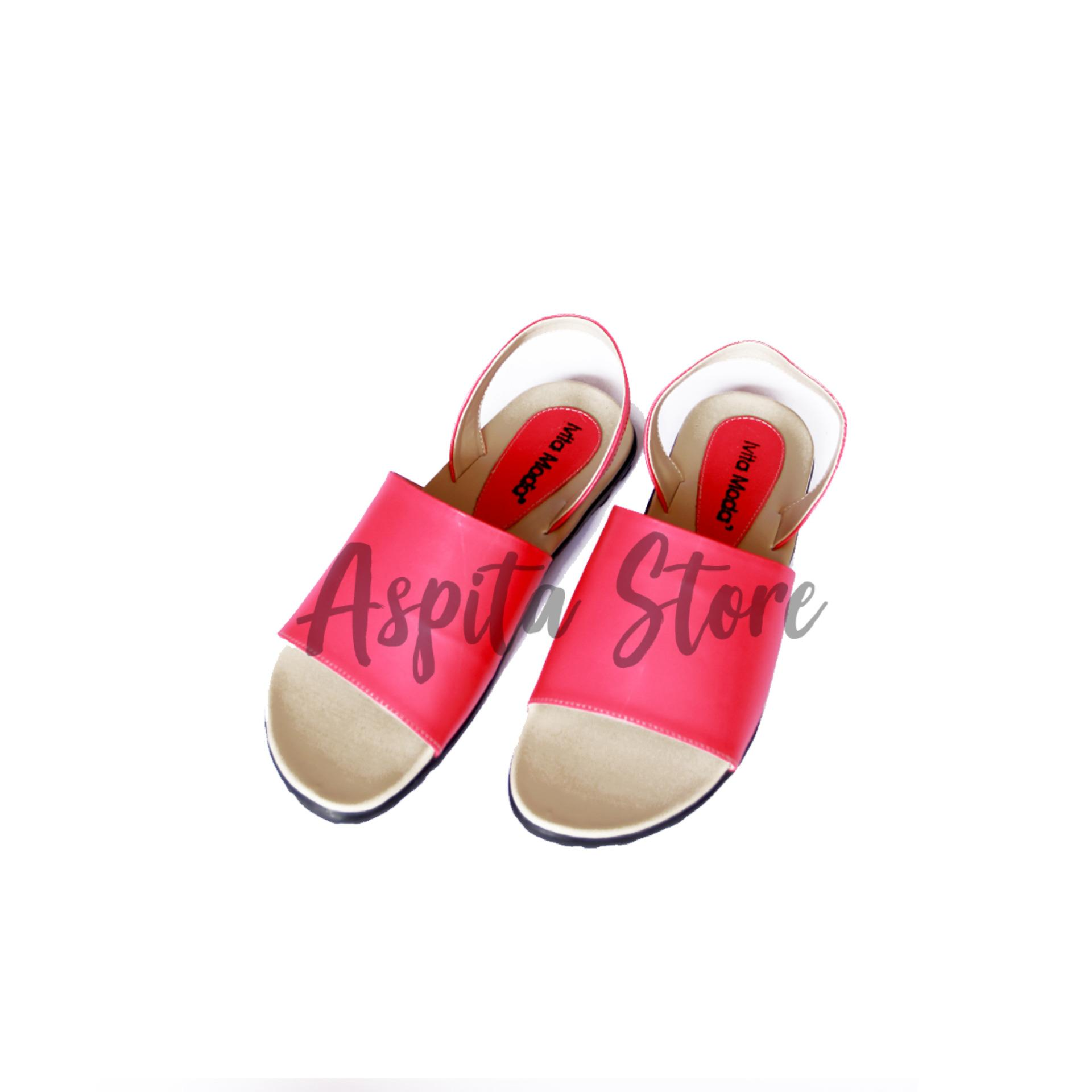 Sandal Kulit Sandal Tali Merah Muda Wanita Trendy Asli Garut Premium Murah - Aspita Store