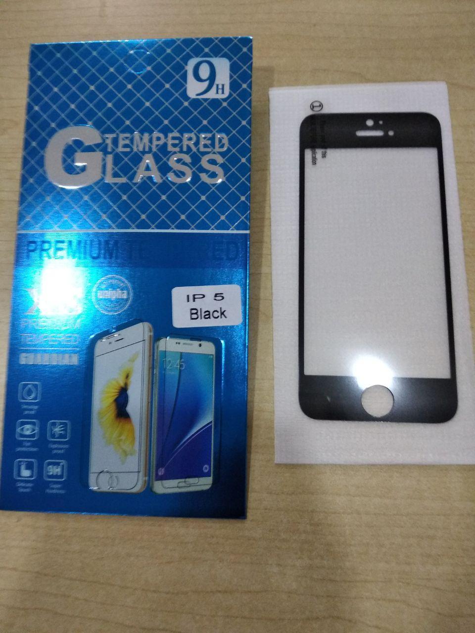 Tempered Glass FULL FRAME Iphone 5 / 5s / 5 SE - Hitam