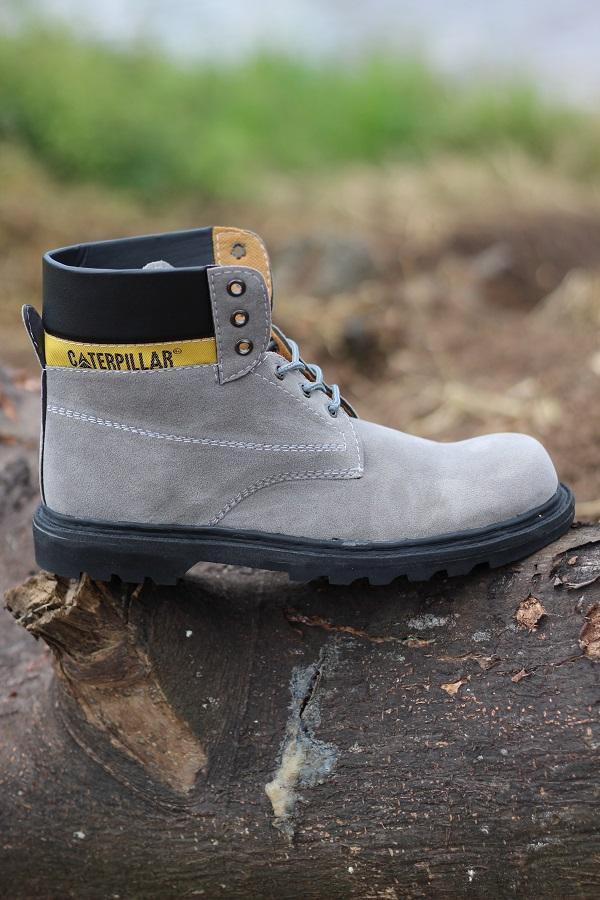 Promo Sepatu Pria Caterpillar High Suede Grey Boots Safety Kerja Proyek Diskon