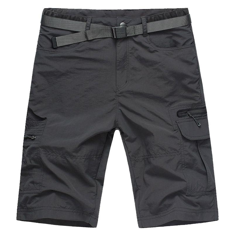 Celana Pendek Musim Panas Baru Celana Sedang Pantai Pakaian Pria (Abu-abu Gelap [