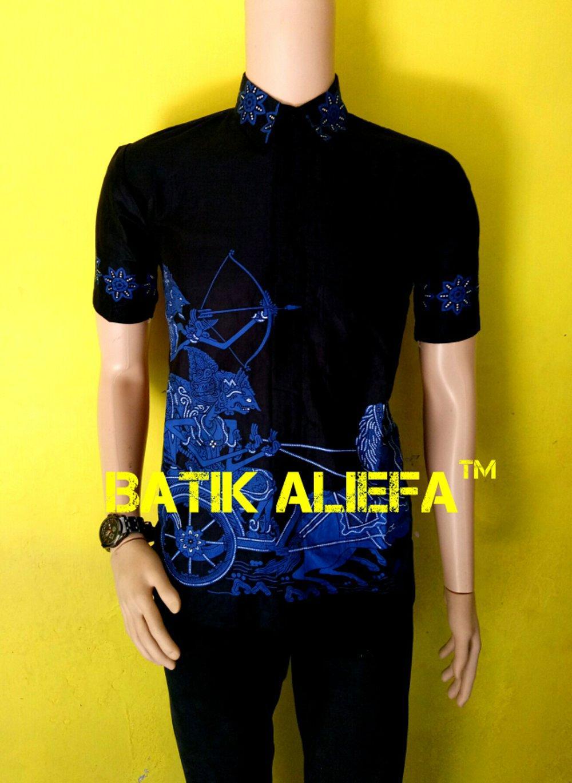 Kemeja Hem Baju Batik Pria Cowok Arjuna Memanah Cinta Biru Hitam di lapak Batik Aliefa Pekalongan