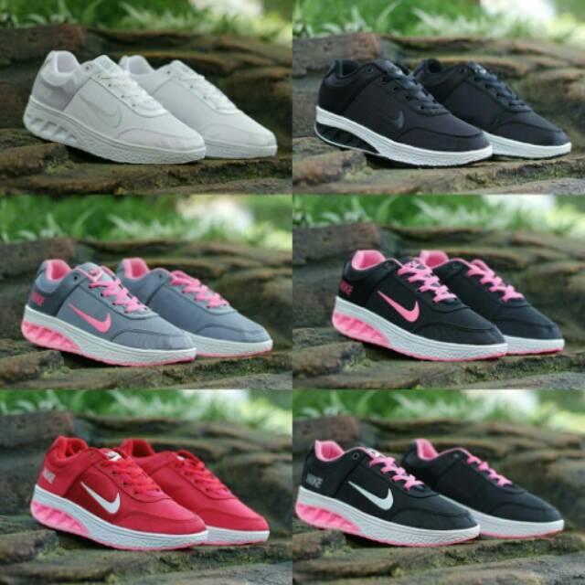 Nike Wedges size 36-40 sepatu wanita olahraga running sneakers warna hitam,putih,merah
