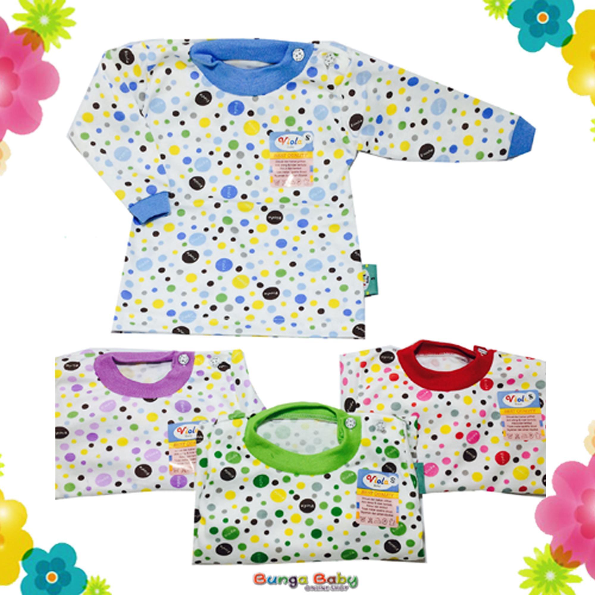 Kaos Bayi Viola Print Lengan Panjang (4 pcs) Seri warna