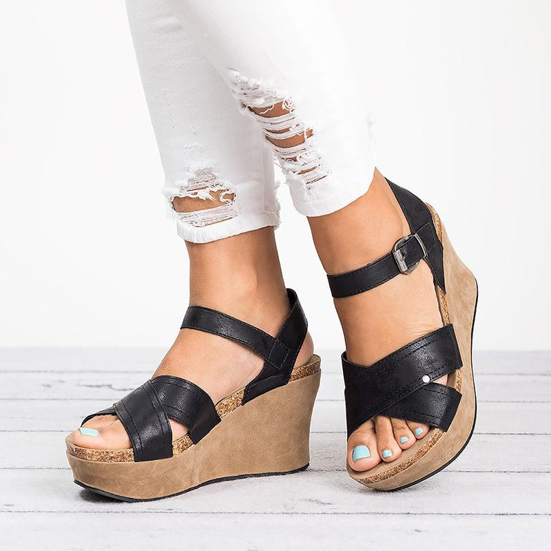 50e4163f132c6 Women Wedges Shoes Plus Size Summer Gladiator High Heels Female Sandals  Cross Strap Rome Platform Buckle
