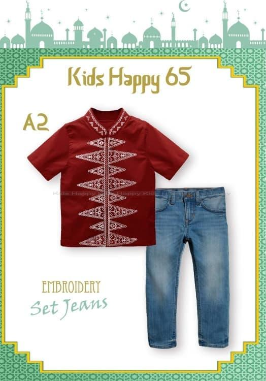 New  Baju Muslim Anak Laki KH65 Koko Pendek Bordir Merah Marun Celana Jeans